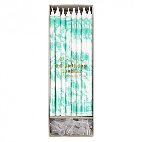 Mint Marbled Candles