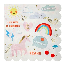 Rainbow & Unicorn Large Napkins