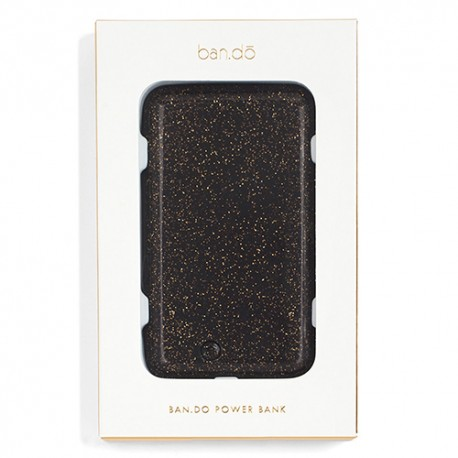 Black with Gold Glitter Powerbank