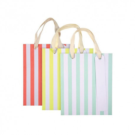 Small Neon Stripe Gift Bags