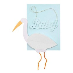 Blue Baby Stork Card