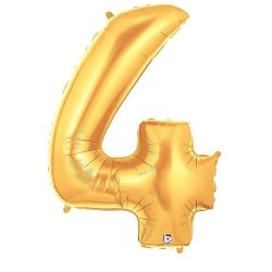 Number 4 Gold Balloon
