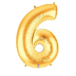 Number 6 Gold Balloon