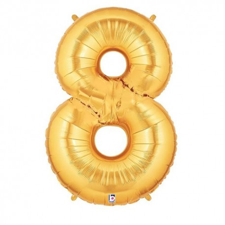 Number 8 Gold Balloon