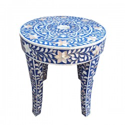 Mother of Pearl Round Arabesque Stool
